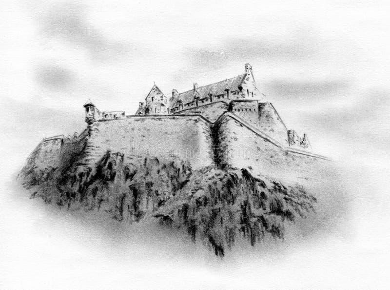 Castillo de Edimburgo - fortaleza histórica de Edimburgo / dibujo a lápiz libre illustration