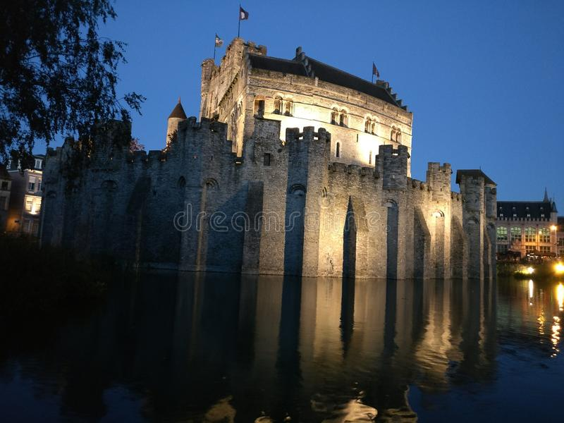 Castillo de Gravesteen en Gante fotos de archivo