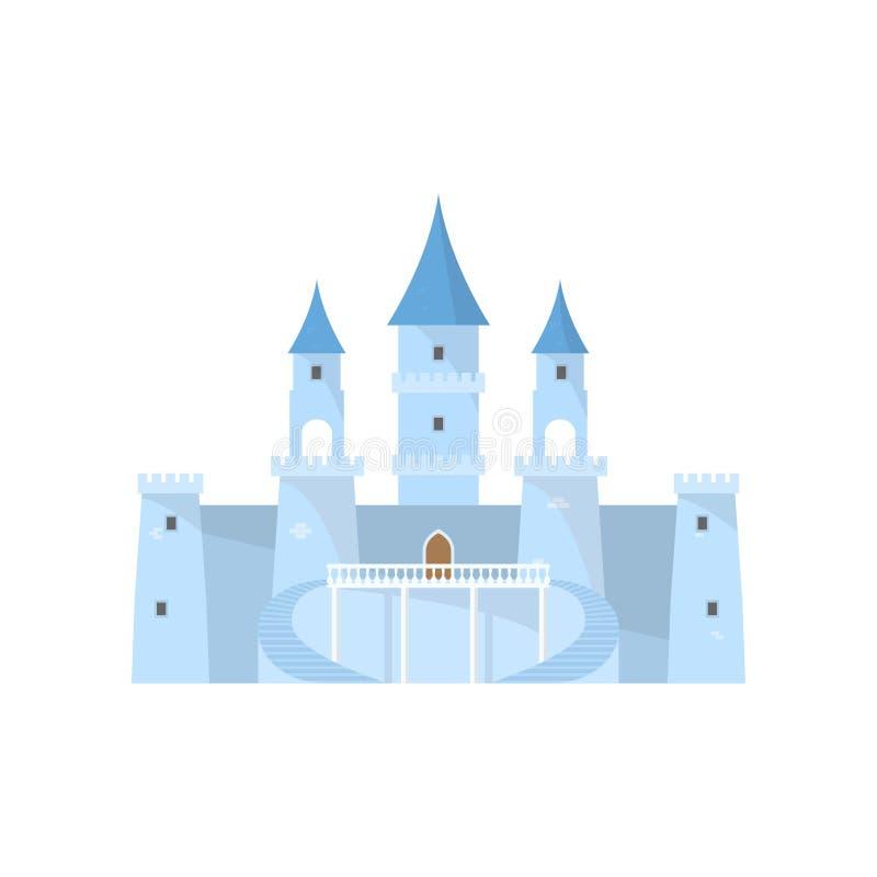 Castillo de hadas azul del hielo para la princesa hermosa del rey stock de ilustración