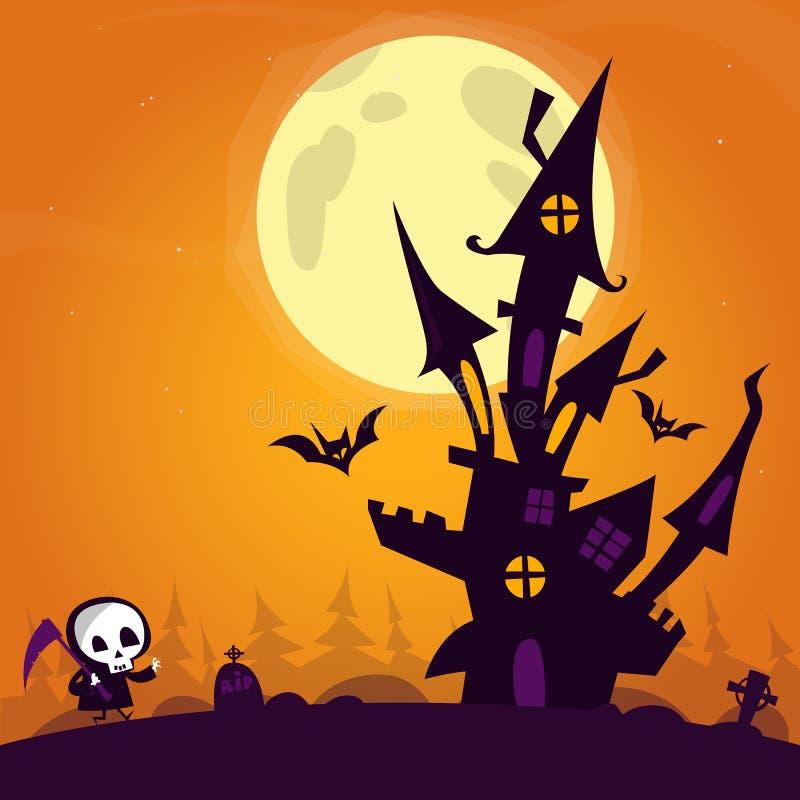 Castillo de Halloween Ejemplo de un castillo frecuentado fantasmagórico en la colina dentro del fondo del paisaje de Halloween ilustración del vector