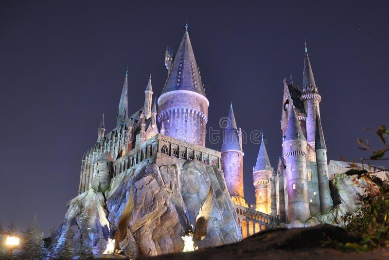 Castillo de Harry Potter en Orlando universal en la noche fotografía de archivo libre de regalías