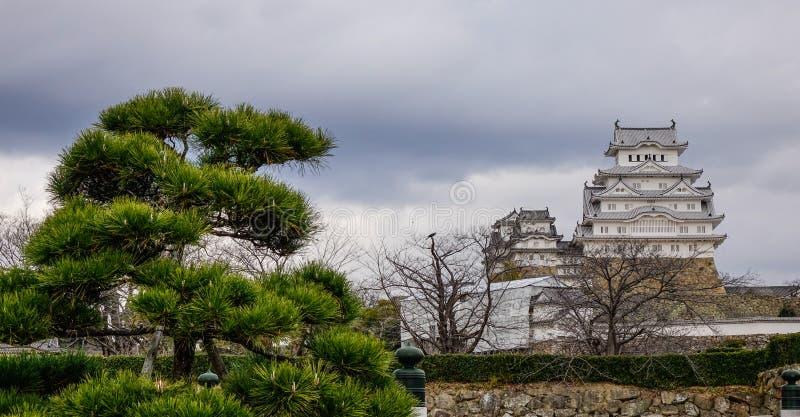 Castillo de Himeji en d?a lluvioso fotografía de archivo libre de regalías