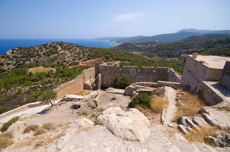 Castillo de Kritinia en la isla de Rodas, Grecia fotografía de archivo