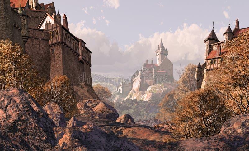 Castillo de la aldea en épocas medievales ilustración del vector