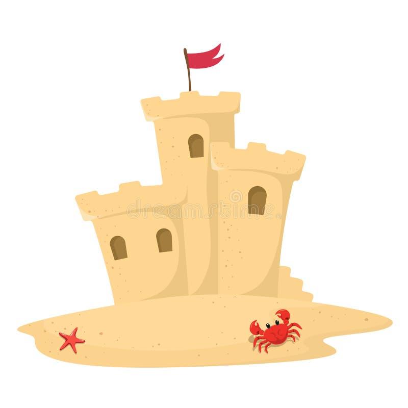 Castillo de la arena con la bandera en estilo de la historieta Ilustraci?n del vector en el fondo blanco stock de ilustración