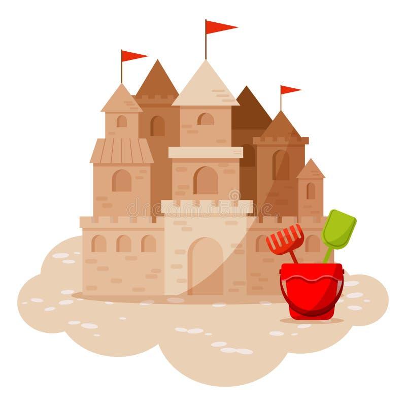 Castillo de la arena y juguetes de la playa de los niños en la arena aislada en el fondo blanco libre illustration