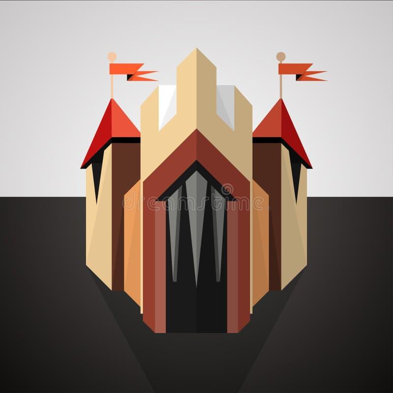 Castillo de la historieta dibujado en perspectiva. Icono. ilustración del vector
