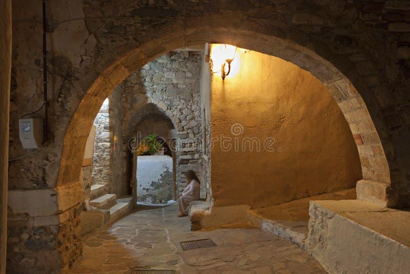 Castillo de la isla de Naxos en Grecia foto de archivo