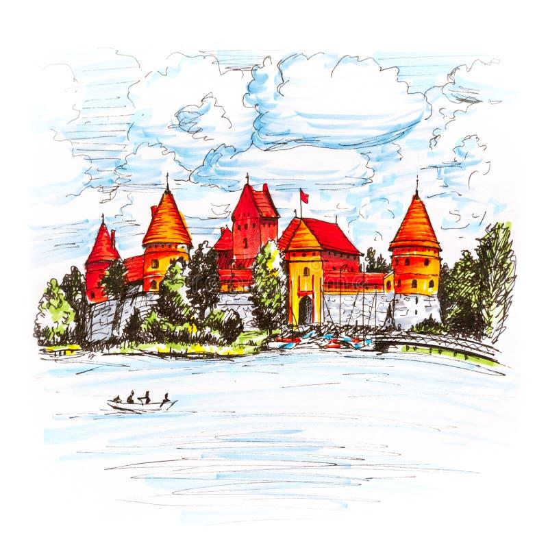 Castillo de la isla de Trakai cerca de Vilna, Lituania ilustración del vector