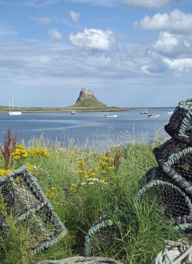 Castillo de Lindisfarne, isla santa imagen de archivo libre de regalías