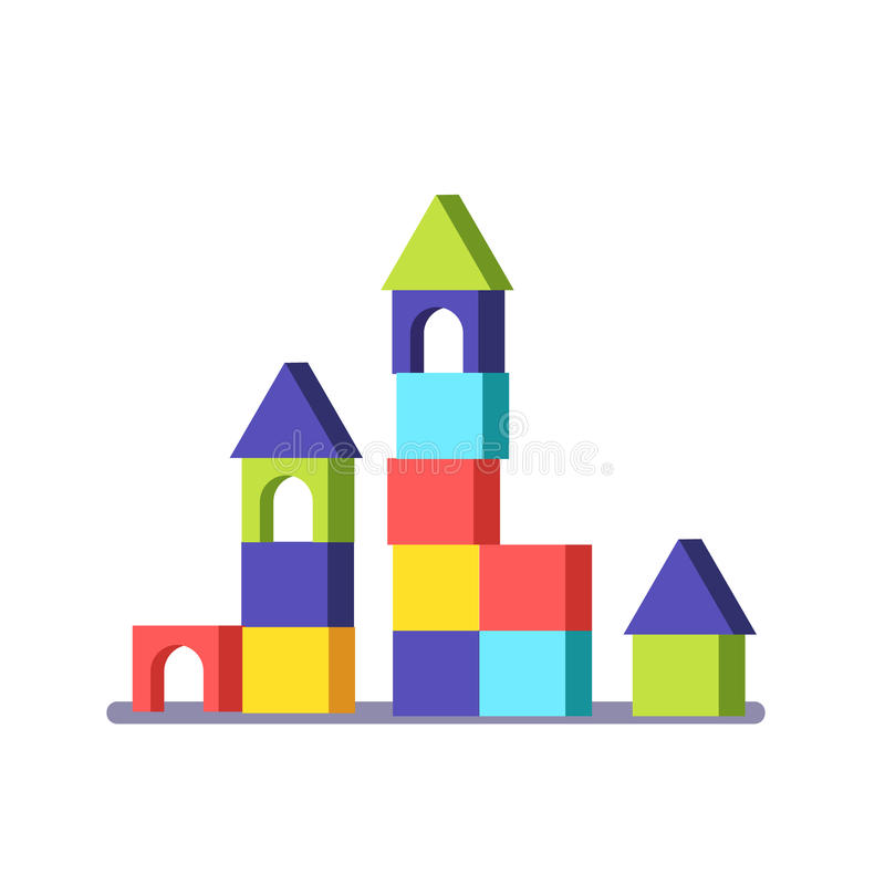 Castillo de madera del juego del edificio del bloque stock de ilustración