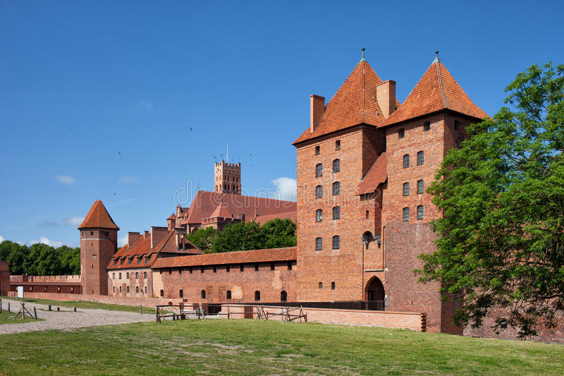Castillo de Malbork de la orden teutónica en Polonia fotos de archivo