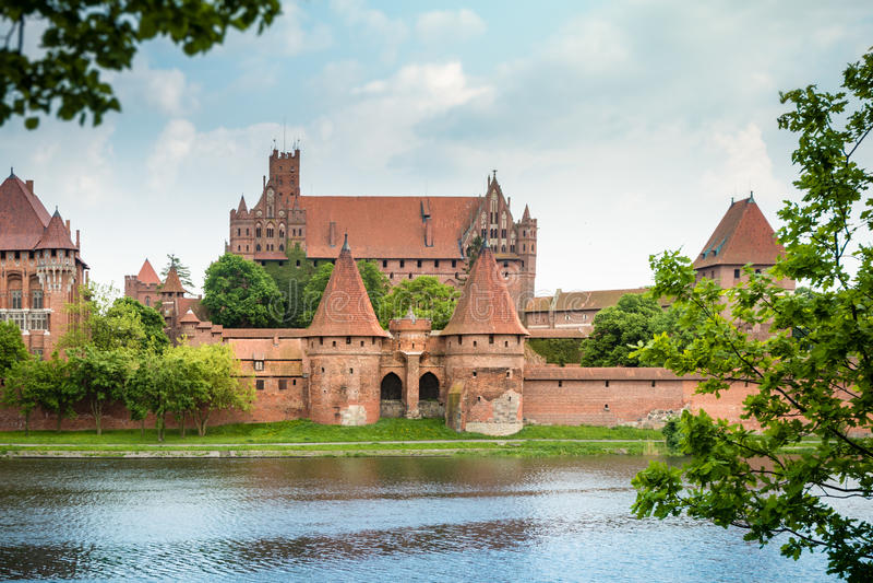 Castillo de Malbork (Marienburg) en Pomerania, Polonia imagen de archivo