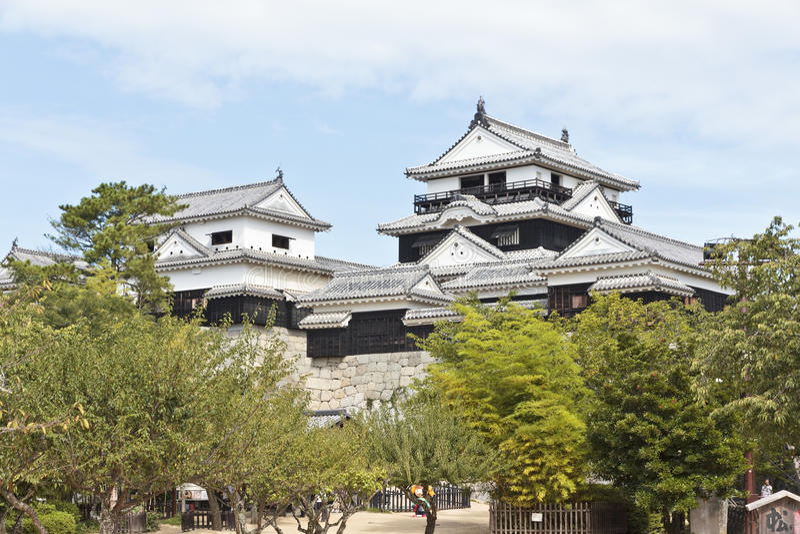 Castillo de Matsuyama imagen de archivo libre de regalías