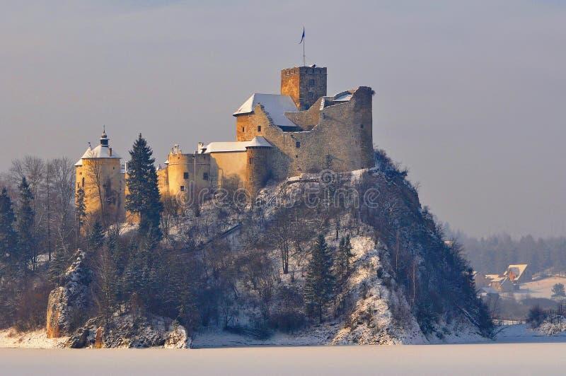 Castillo de Medieaval en Niedzica en Polonia en invierno foto de archivo libre de regalías