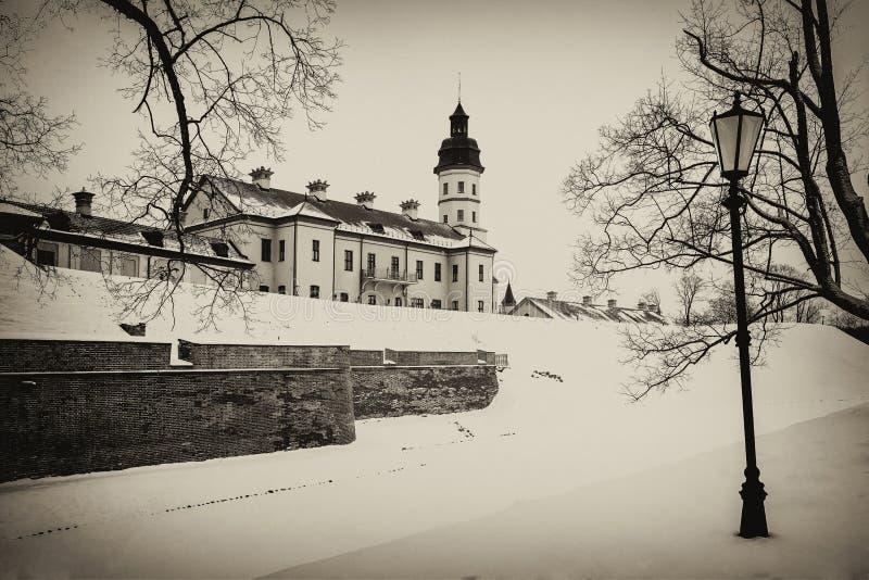Castillo de Nesvizh Invierno imagen de archivo libre de regalías