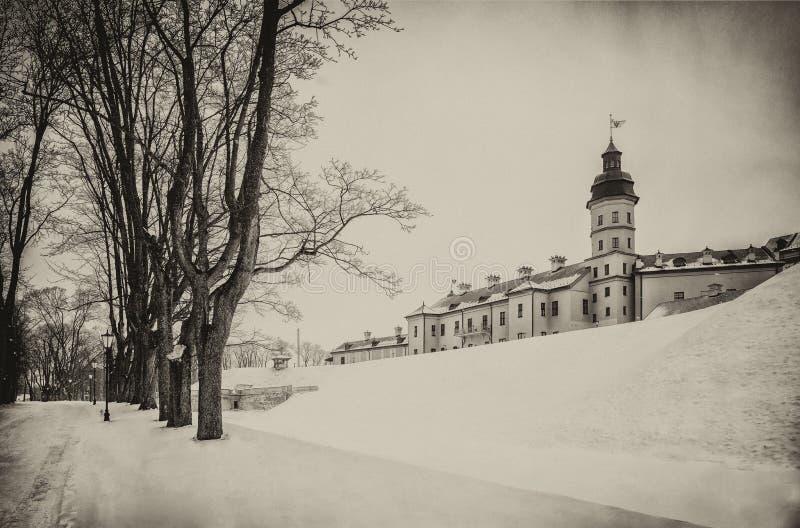 Castillo de Nesvizh Invierno imagen de archivo
