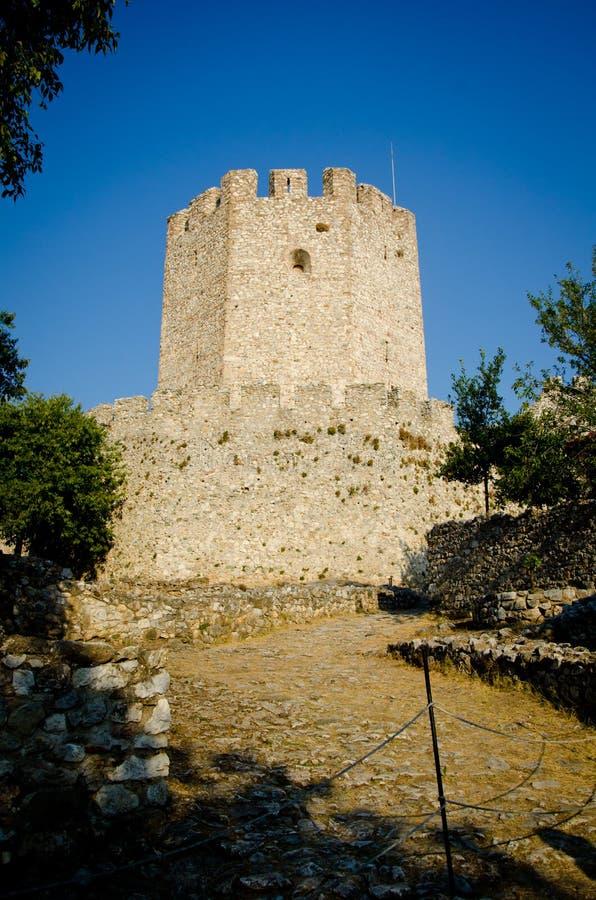 Castillo de Platamon cerca de la ciudad Grecia de Platamonas fotografía de archivo libre de regalías