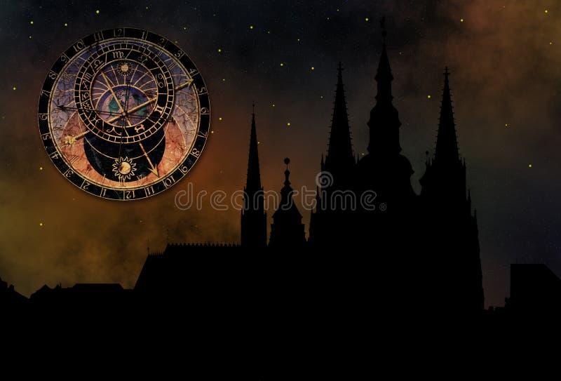Castillo de Praga en la noche ilustración del vector