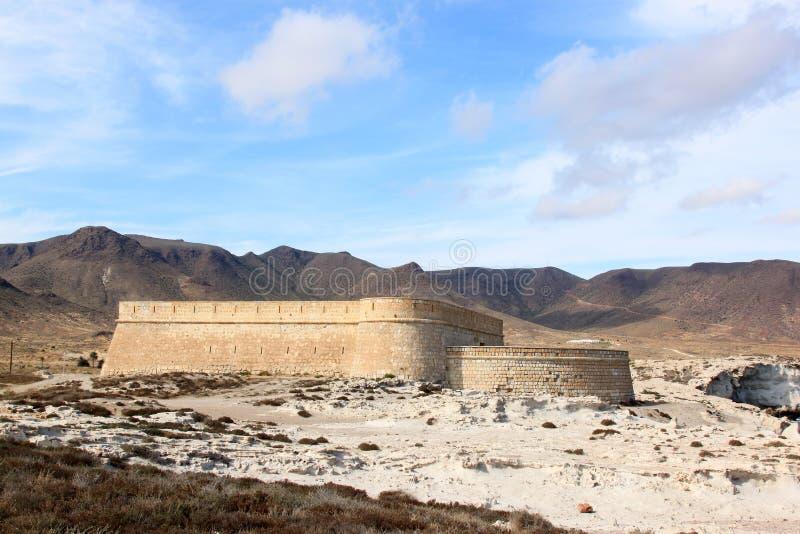 Castillo De San Felipe von Los Escullos, Spanien stockfotos