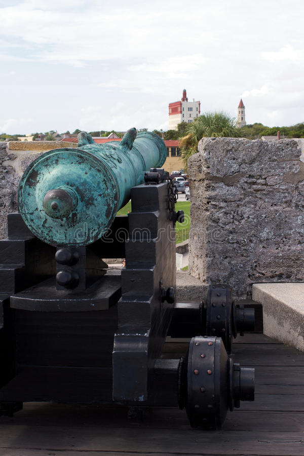 Castillo de San Marcos. St. Augustine, Florida. Castillo de San Marcos, cannon and view of the town stock photo