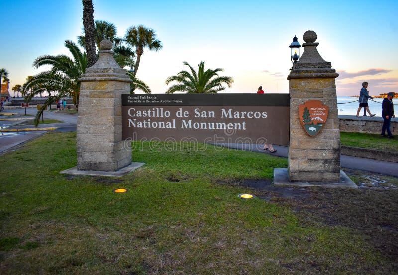 Castillo de San Marcos Monument Sign à la vieille ville dans 71 historiques de la Floride photographie stock