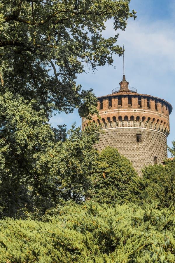 Castillo de Sforzesco de Milán imágenes de archivo libres de regalías