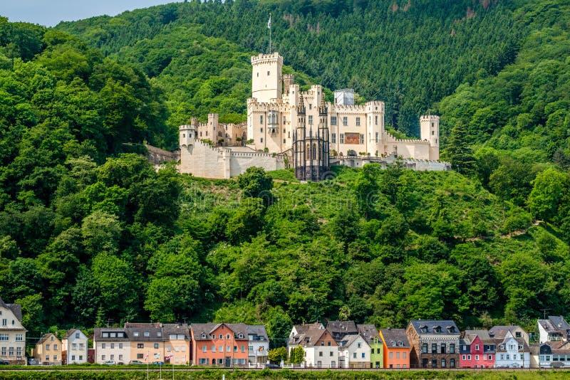 Castillo de Stolzenfels en el valle del Rin cerca de Coblenza, Alemania fotos de archivo libres de regalías
