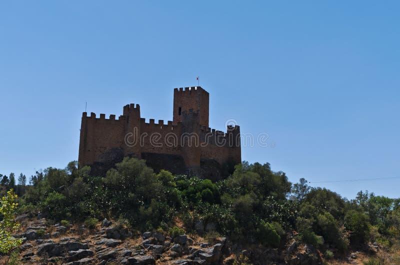 Castillo de Templar de Almourol en Tomar imagen de archivo libre de regalías