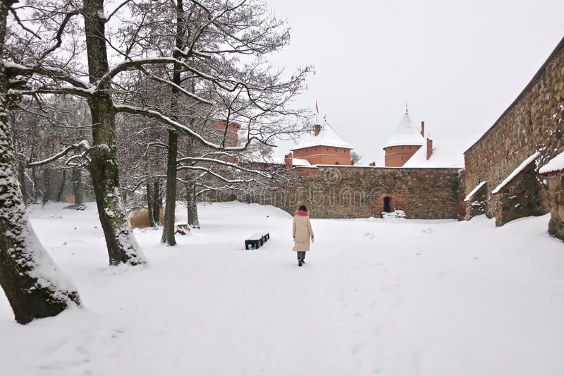 Castillo de Trakai en Lituania en invierno imagenes de archivo