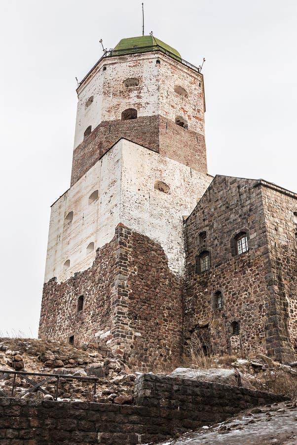 Castillo de Vyborg en un invierno imagen de archivo libre de regalías