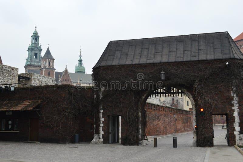 Castillo de Wawel de la entrada, Royal Palace en Kraków imagen de archivo libre de regalías