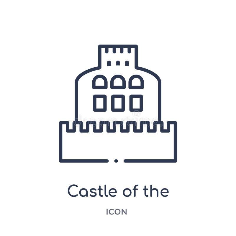 castillo del ángel santo en el icono de Roma de la colección del esquema de los monumentos La línea fina castillo del ángel santo ilustración del vector