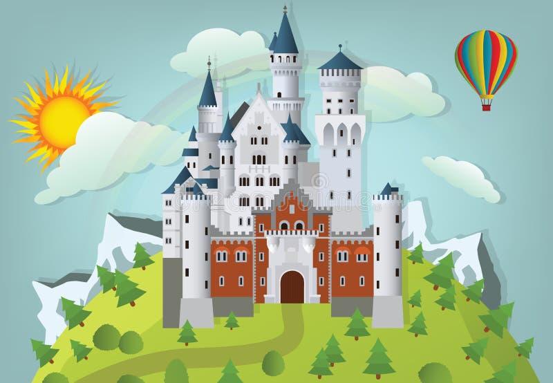 Castillo del cuento de hadas stock de ilustración
