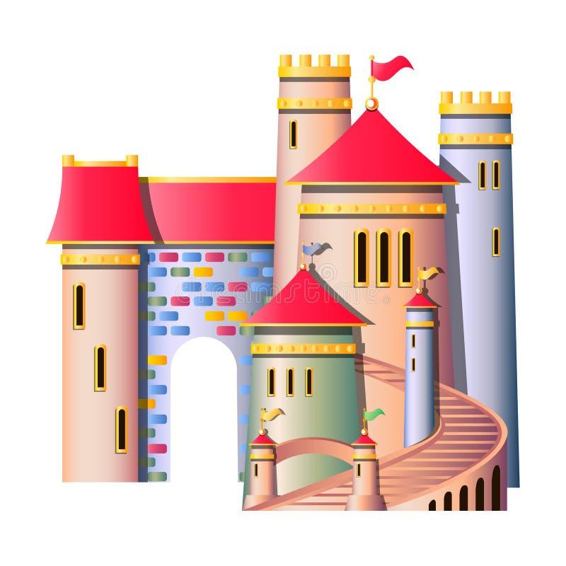 Castillo del cuento de hadas aislado stock de ilustración