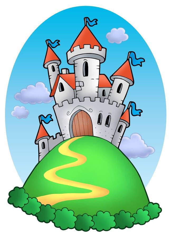 Castillo del cuento de hadas con las nubes ilustración del vector
