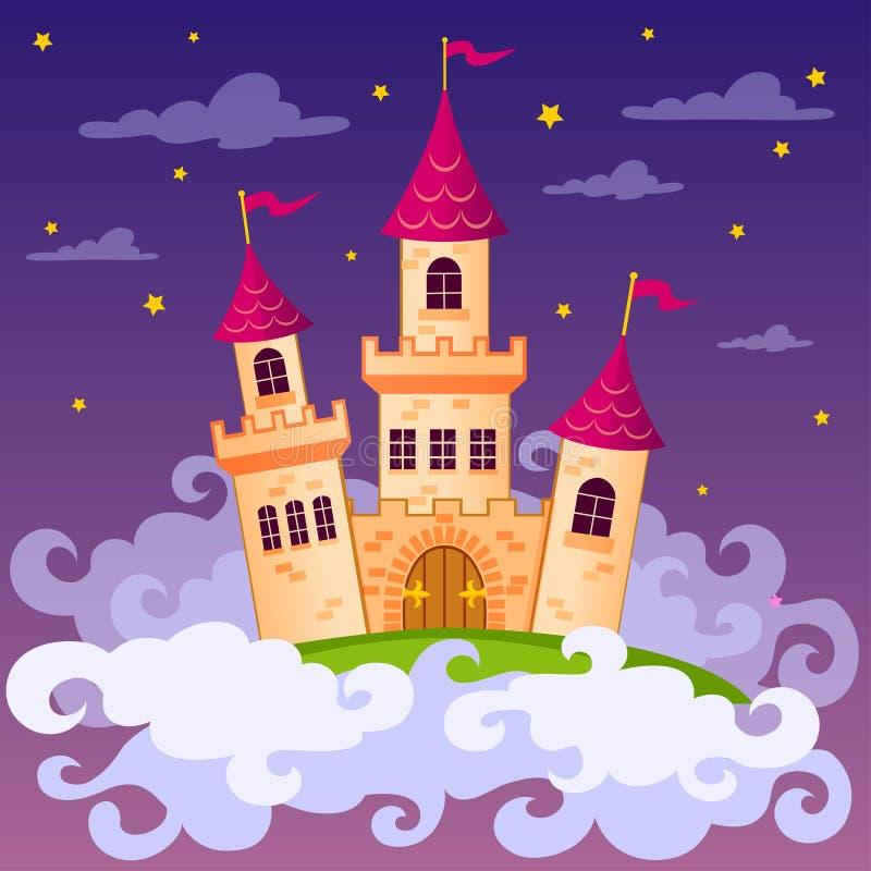 Castillo del cuento de hadas de la fantasía en nubes ilustración del vector