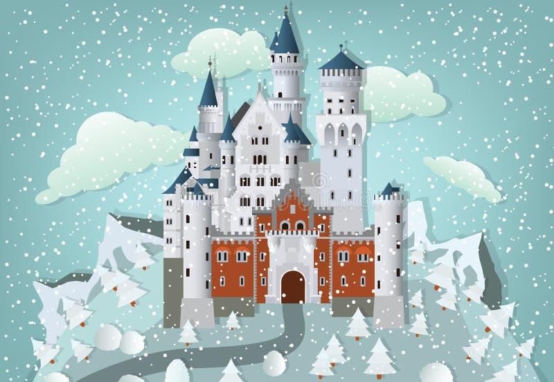 Castillo del cuento de hadas en invierno ilustración del vector
