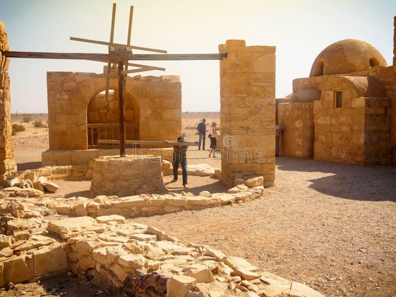 Castillo del desierto de Quseir Qasr Amra cerca de Amman, herencia de Jordan World con el ` famoso s del fresco foto de archivo