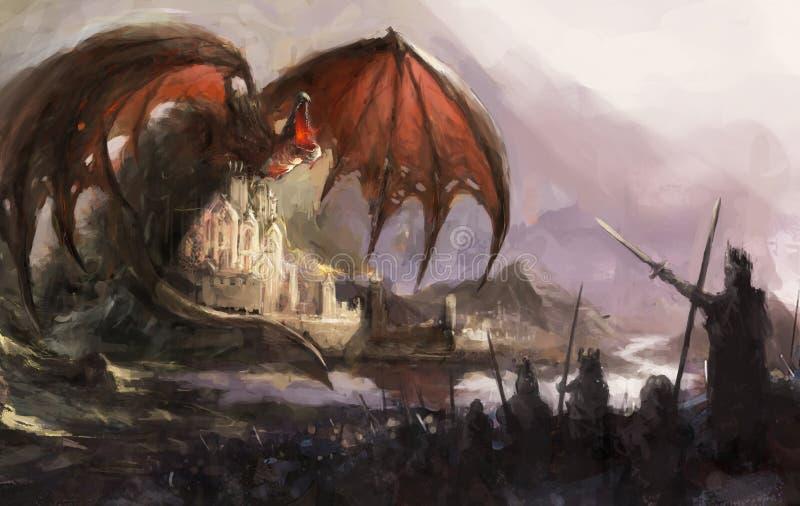 Castillo del dragón stock de ilustración