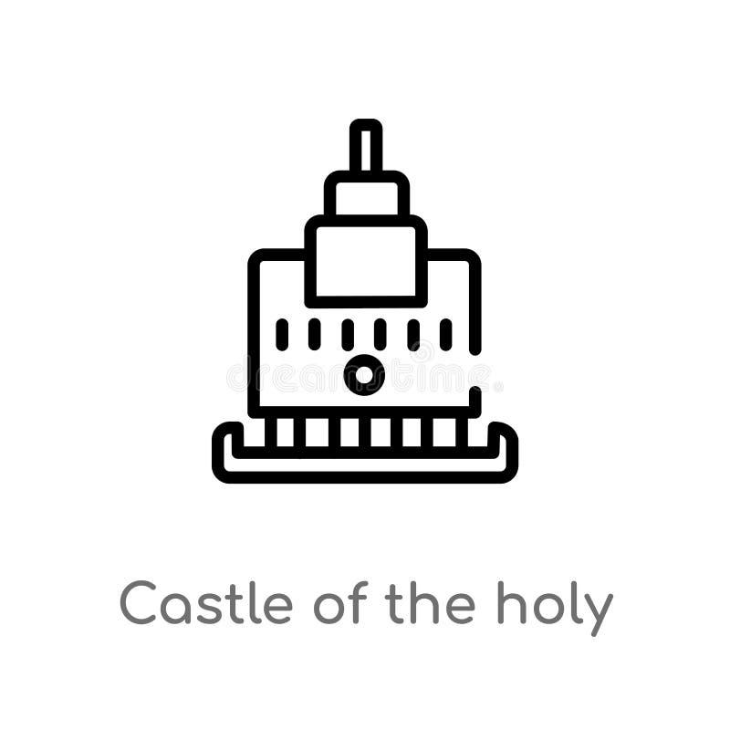 castillo del esquema del ?ngel santo en icono del vector de Roma l?nea simple negra aislada ejemplo del elemento del concepto de  libre illustration