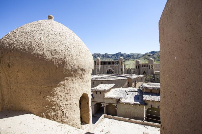 Castillo del estudio cinematográfico en Tas de Tamgaly - Kazajistán - Asia Central foto de archivo