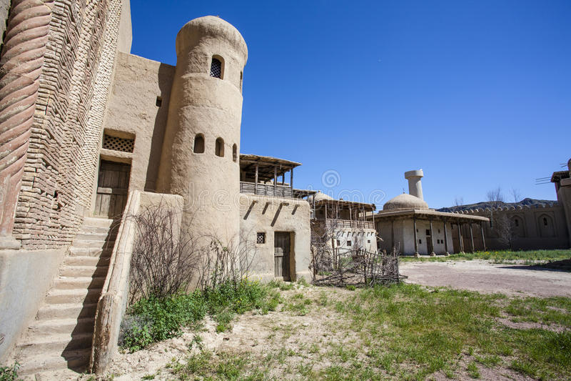 Castillo del estudio cinematográfico en Tas de Tamgaly - Kazajistán - Asia Central fotos de archivo
