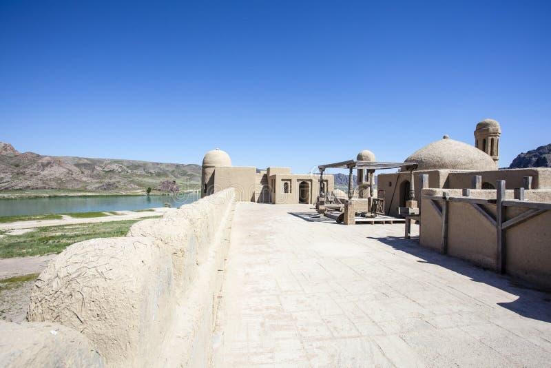 Castillo del estudio cinematográfico en Tas de Tamgaly - Kazajistán - Asia Central imagen de archivo libre de regalías