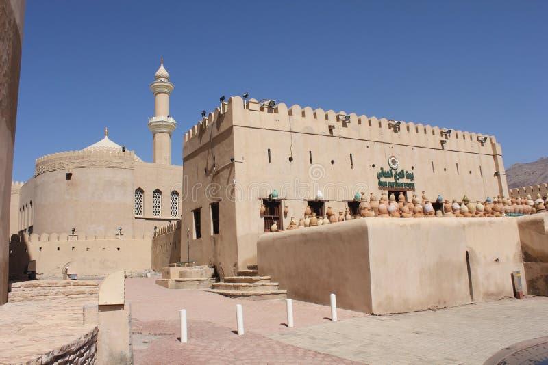 Castillo del fuerte de Nizwa, visión desde afuera, Omán imagen de archivo