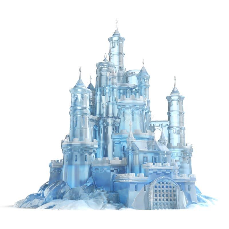Castillo del hielo aislado en el fondo blanco stock de ilustración