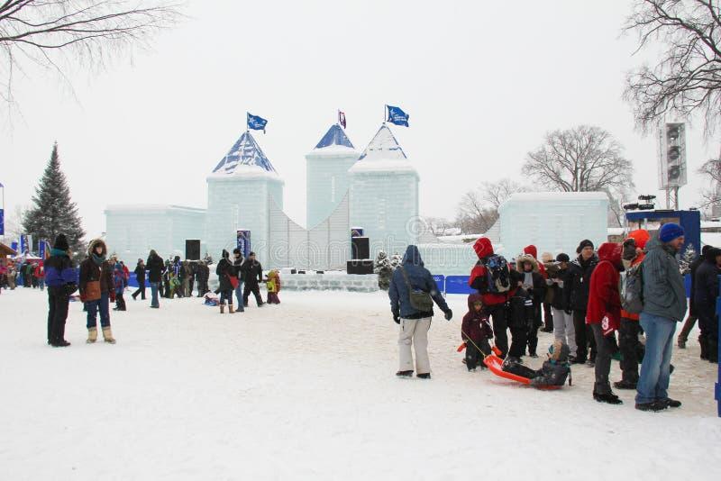 Castillo del hielo en la ciudad de Quebec foto de archivo libre de regalías