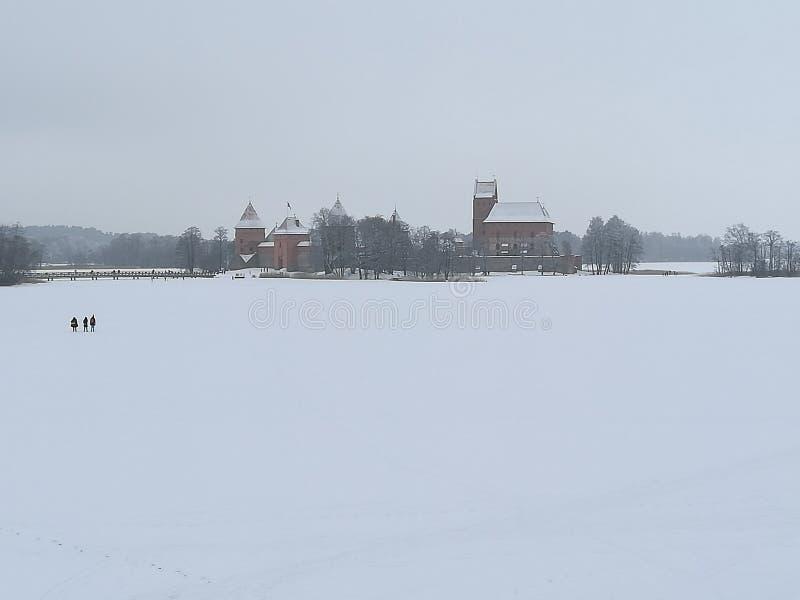 Castillo del invierno de Lituania Trakai fotos de archivo