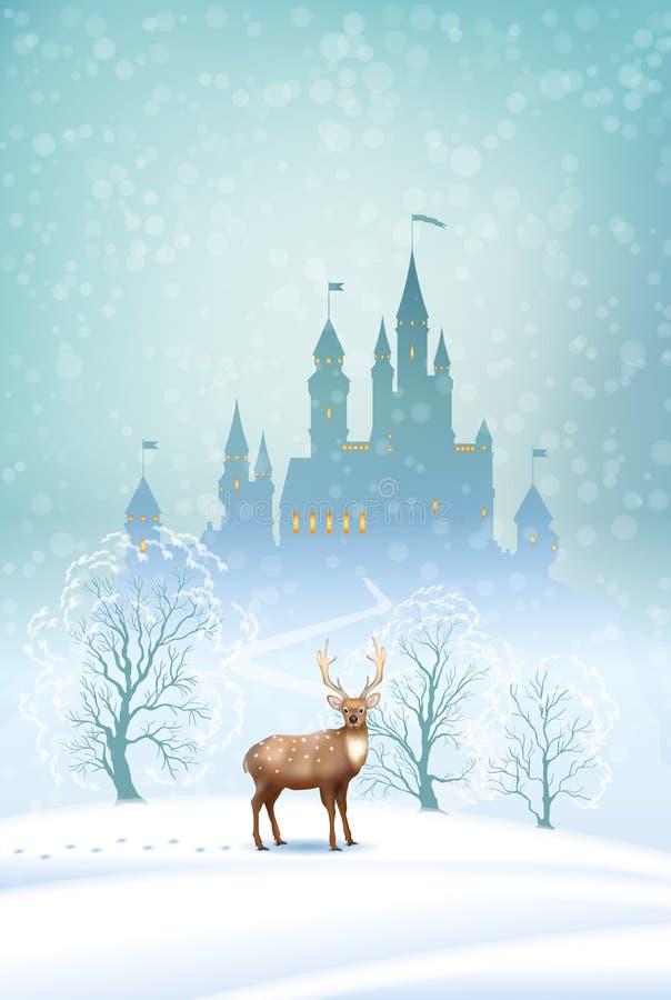 Castillo del invierno del paisaje de la Navidad libre illustration