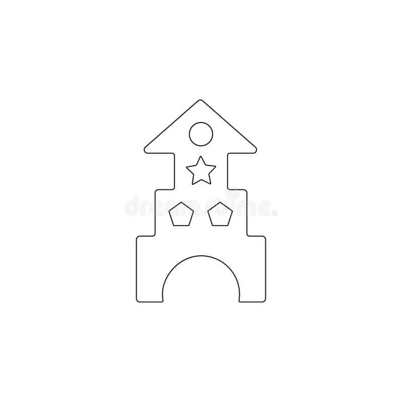 castillo del juguete de los bloques e icono de madera de la casa Icono del elemento del juguete Icono superior del diseño gráfico libre illustration